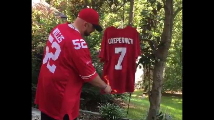 0ffd9b872 Angry Fan Burns Colin Kaepernick Jersey While Playing the National Anthem