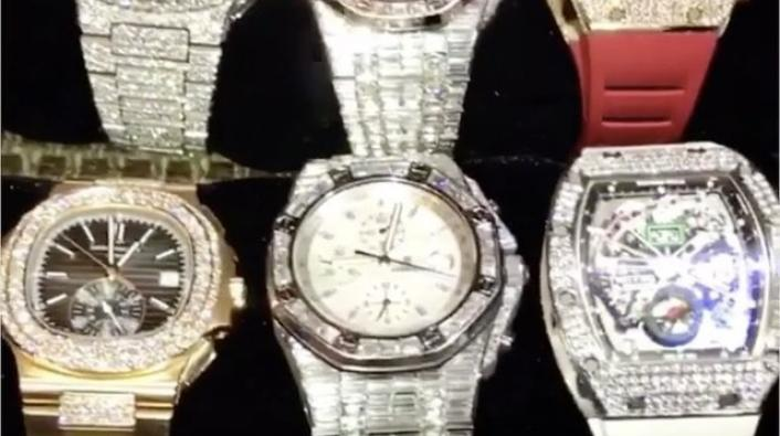 Floyd Mayweather Jr. Shows Off His Watch Collection