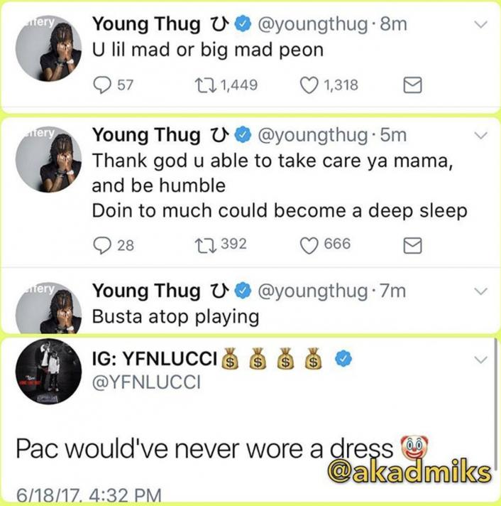 "Image: Young Thug Threatens YFN Lucci for ""2Pac Wouldn't Wear a Dress"" Comments Image #2"