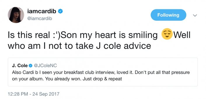 Image: J Cole Tells Cardi B Not to Stress Over Debut Album, She Already Won Image #3