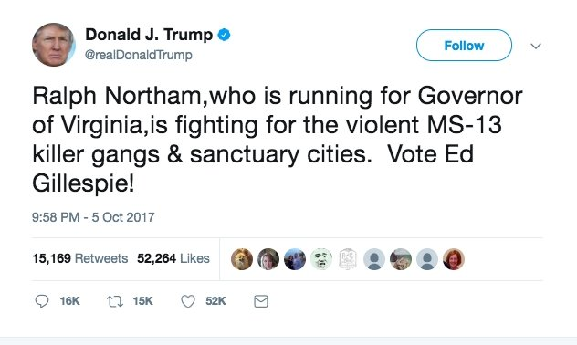 "Image: Trump Says Virginia Democrat Is ""Fighting for MS-13 Killer Gang' Image #2"