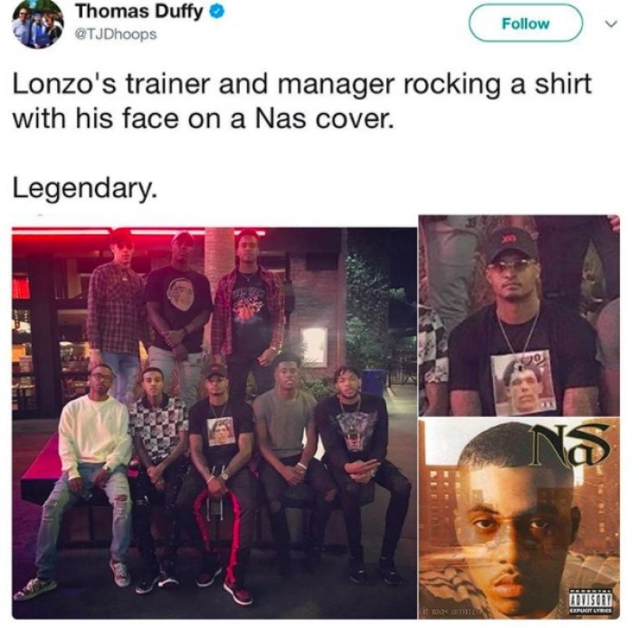 Image: Lonzo Ball's Trainer Pictured Wearing a Shirt With Lonzo on a Nas Album Cover Image #2