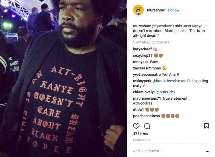 Image result for questlove kanye west doesn't care about