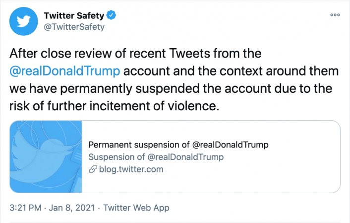 Image: Twitter Permanently Suspends Donald Trump's Twitter Account Image #3
