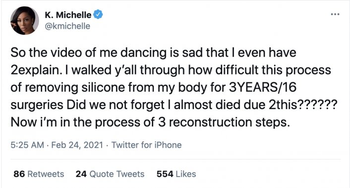 Image: Update: K. Michelle Addresses Viral Twerking Video, Talks Silicone Removal Image #2
