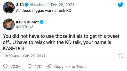 """Image: Kevin Durant and Kash Doll Go Back and Forth Over """"KD"""" Nickname Image #3"""