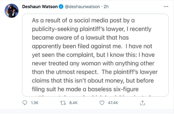 Image: Lawyer Says 6 Sexual Assault Claims Are Coming Against Deshaun Watson Image #2