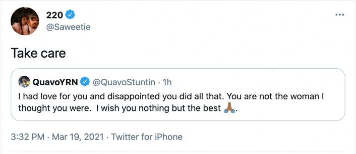 Quavo Expresses Disappointment in Saweetie's Breakup Announcement