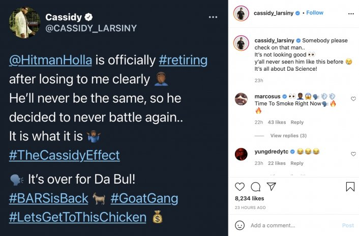 Image: Cassidy Says He Made Hitman Holla Retire from Battle Rap Image #2