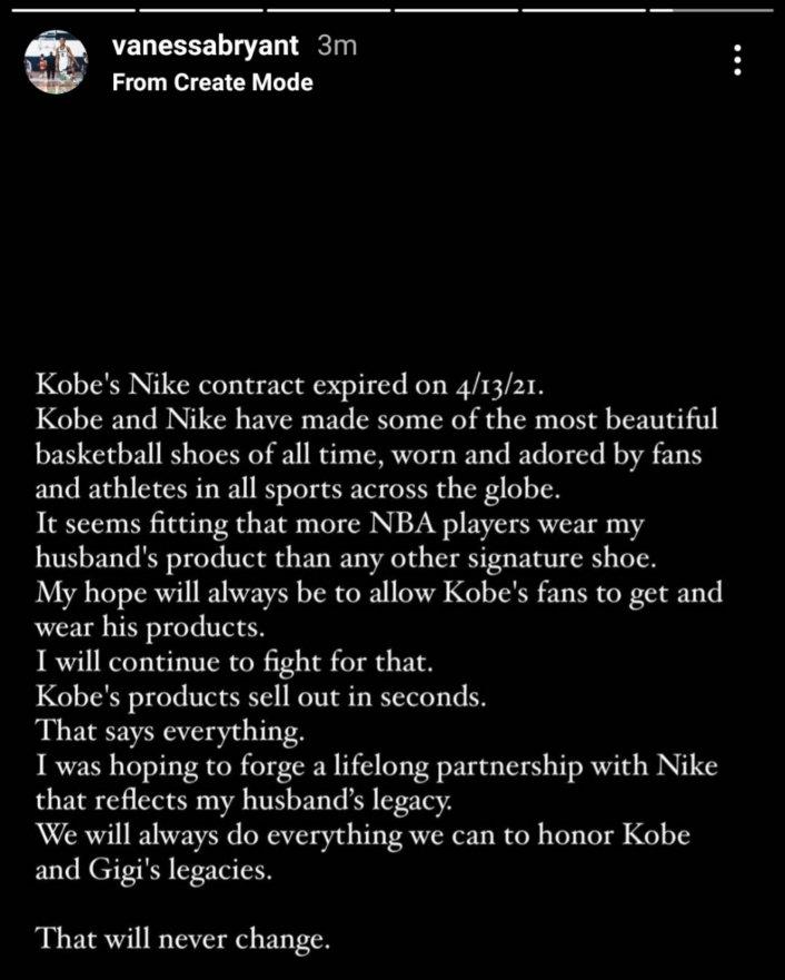 Image: Update: Vanessa Bryant Addresses Not Renewing Kobe's Nike Deal Image #2