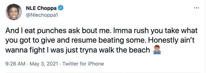Image: Update: NLE Choppa Responds to Fight Video: Y'all Never Got Hit in a Fight? Image #3