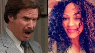 "Will Ferrell Makes Out With Meagan Good in ""Anchorman 2"""