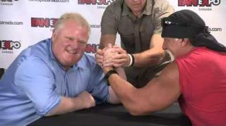 Hulk Hogan & Rob Ford Throw Down in Epic Arm Wrestling Match