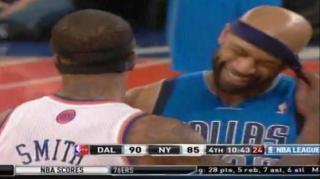 JR Smith Messes With Vince Carter's Headband During Game