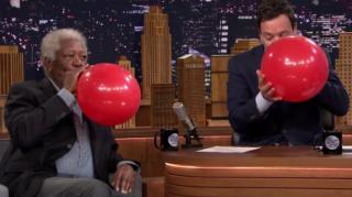 Morgan Freeman Chats With Jimmy Fallon on Helium