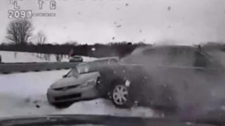 Cop Nearly Crushed Between Two Cars in Michigan Accident