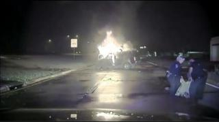 Texas Cops Save Unconscious Man From Explosive Car Accident