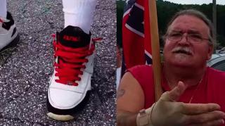 Image: KKK Member Gets Confronted For Wearing FUBU Sneakers